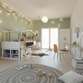 Kinderzimmer Set mit Schreibtisch 8-teilig Cory 90x200cm