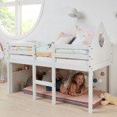 Halbhohes Bett Alfred in weiß in 70 x 160 cm, mit Kreidetafel und Kopfteil