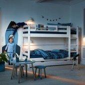 Classic Etagenbett mit gerader Leiter, Whitewash 90 x 200 cm