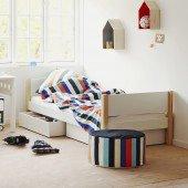 White Einzelbett mit Bettkästen in weiß Pfosten in natur, 90 x 190cm