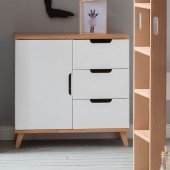 Infanscolor Kommode mit 3 Schubladen und 1 Tür in Buche/ weiß