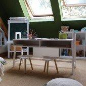 Höhenverstellbarer Schreibtisch 814 aus Kiefer in drei Farben