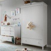 Emma Kleiderschrank 2-türig mit Schublade in weiß