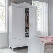 Klaudia Kleiderschrank 2-türig mit Schublade in weiß