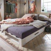 Palettenbett 140 x 200 cm mit zwei Schubladen (3 Farben)