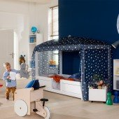 4 in 1 Bett (1 Bett mit 4 Aufbauvarianten) mit Textilhimmel Blue Star