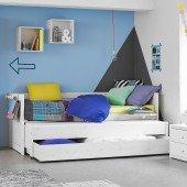 Kojenbett mit Gästebett und Bettkasten in deckend weiß (inkl. Rollrost)