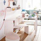 Regalmodul Play & Store: Regal / Schreibtisch / Bank in einem Möbel