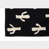 Black & White Cactus Stamp Teppich in schwarz-weiß
