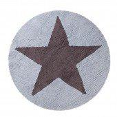 Estrella Reversible Azul-Gris Oscuro (Wendeteppich Round Star, blau, Ø140cm)