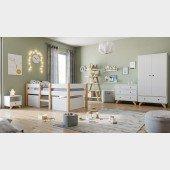 Kinderzimmer Set 5-teilig mit Kojenbett Finn / Tipi weiß