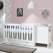 Moon Kombination Babybett mit kleiner Wickelkommode und Bettkasten in weiß, MDF