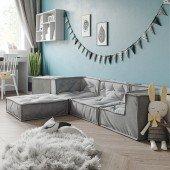 MyColorCube - Kinder Sofa Set F hellgrau, 5-teilig