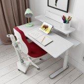 Schreibtisch Ergo, rechte Seite neigbar, deckend weiß