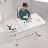Diego GT Schreibtisch in weiß/kreideweiß, B 130 (geteilte Tischplatte)