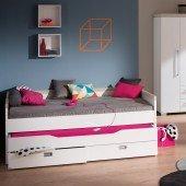 Kira Kojenbett mit Unterschiebebett und Wandschutzseite (Breite 120cm, Farbe wählbar)