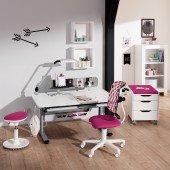 Diego Schreibtisch in silber/ kreideweiß, B 105 cm