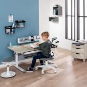 Diego GT Schreibtisch in weiß/ Eiche-Nautik, B 130 (geteilte Tischplatte)