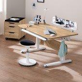 Diego GT Schreibtisch in weiß/ Eiche-Nebraska, B 130 (geteilte Tischplatte)