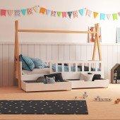 Tipi Bett Bella mit 2 Bettkästen und Geländer