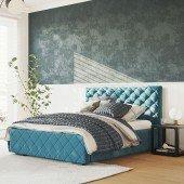 Polsterbett Viana in Velour Blue #11, 120 x 200 cm
