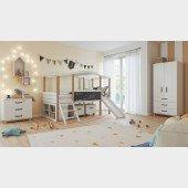 Kinderzimmer Set 7-teilig Cory mit Hausbett 90 x 200 cm