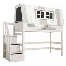 Mittelhohes Bett Hangout mit Deluxe Lattenrost und Treppe / Whitewash