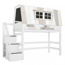 Mittelhohes Bett Hangout mit Rollboden und Treppe / Weiß