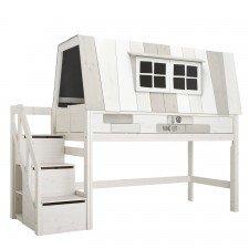 Halbhohes Bett Hangout mit Rollboden und Treppe / Whitewash