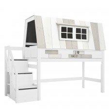 Halbhohes Bett Hangout mit Rollboden und Treppe / Weiß