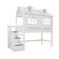 Halbhohes Bett Lakehouse mit Deluxe Lattenrost und Treppe / Weiß