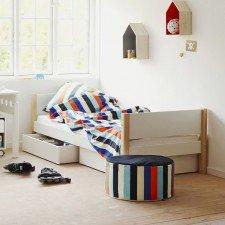 White Einzelbett mit Bettkästen in weiß, Pfosten in natur, 90 x 200cm