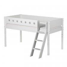 White halbhohes Bett in weiß, schräge Leiter, 90 x 200cm
