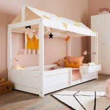 4 in 1 Bett mit Stoffdach Princess Stars inkl. Mini-Kissen, Blumenkasten nicht inklusive