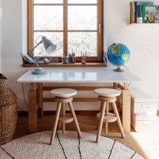 Schreibtisch weiß/Buche (B 140 cm)