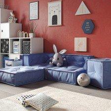 Kindersofa-Kombination C blau, 4-teilig