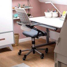 Marco 2 GT Kreideweiß, Schreibtisch mit geteilter Platte