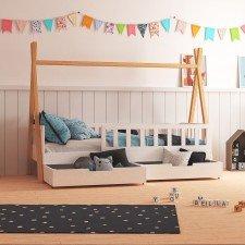 Tipibett Bella mit 2 Bettkästen und Geländer (Abbildung ähnlich)