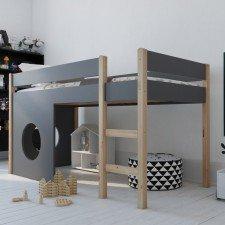 Herstellerbild: Das halbhohe Spielbett wird mit zwei Bullaugenpaneelen geliefert. Die Farben sind real dunkler.