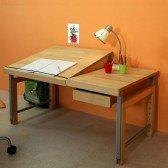 Schreibtisch Ziggy debe.destyle 860 B, Buche massiv (Tischplatte geteilt)