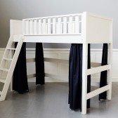 Blaue Vorhänge für mittelhohes Bett (6 Teile)