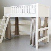 Naturfarbene Vorhänge für mittelhohes Bett (6 Teile)