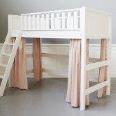 Rose Vorhänge für mittelhohes Bett (6 Teile)