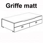 Unterschiebebett mit 2 Schubladen u. Lattenrost Standard, matte Griffe (für Kojenbett) Fiona/Kira/Ylvie