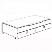 Unterschiebebett mit 2 Schubladen u. Lattenrost Standard, Fionn
