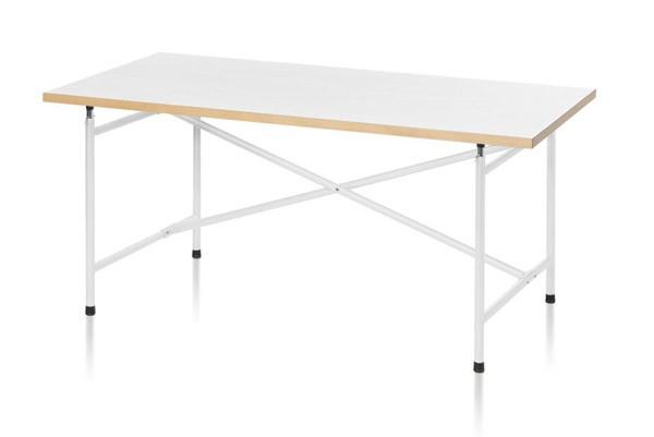 Kindertischgestell in weiß lackiert, hier als Beispiel mit Tischplatte
