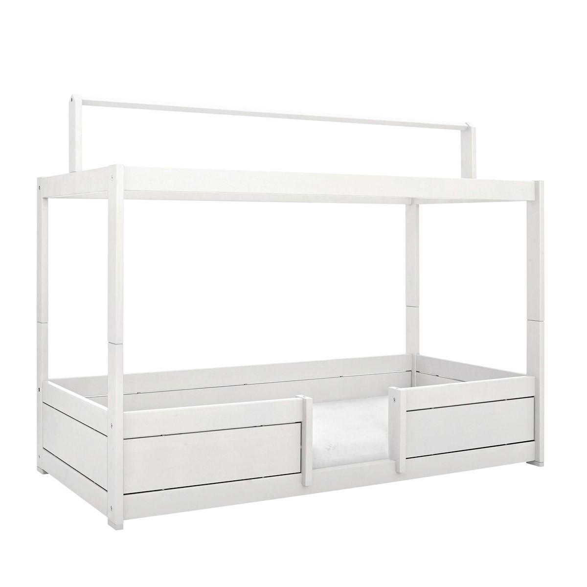 Lifetime 4 in Bett mit Dachkonstruktion in deckend weiß