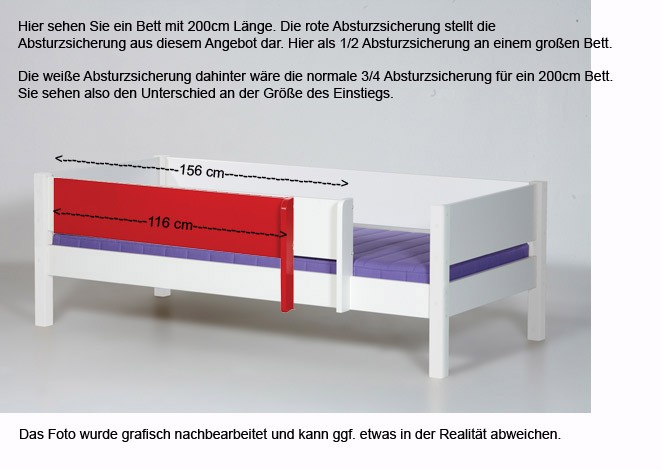 Hier als 1/2 Absturzsicherung an einem 200 cm langen Bett.