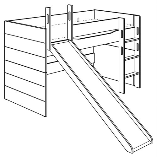 Fionn Spielbett mit gerader Leiter und Rutsche