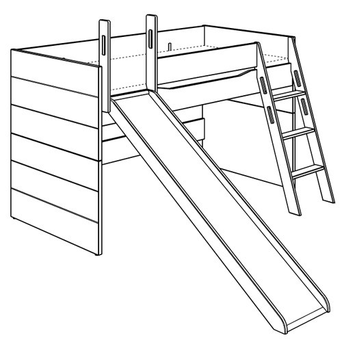 Fionn Spielbett mit schräger Leiter und Rutsche